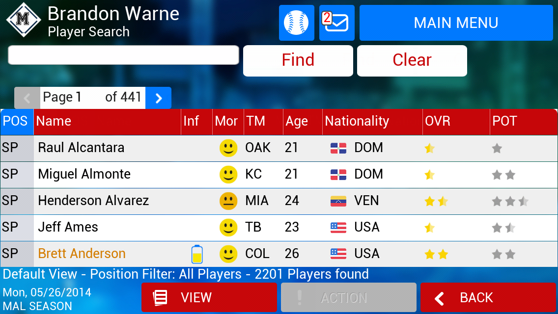 iOOTP 2014 Player Search