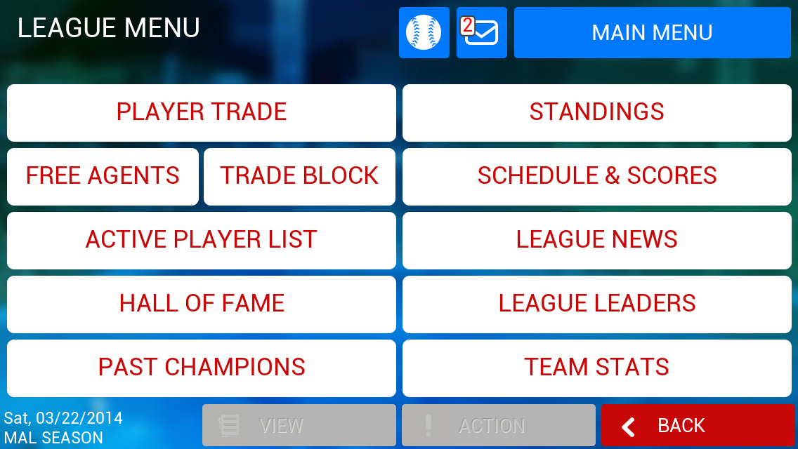 iOOTP 2014 League Menu