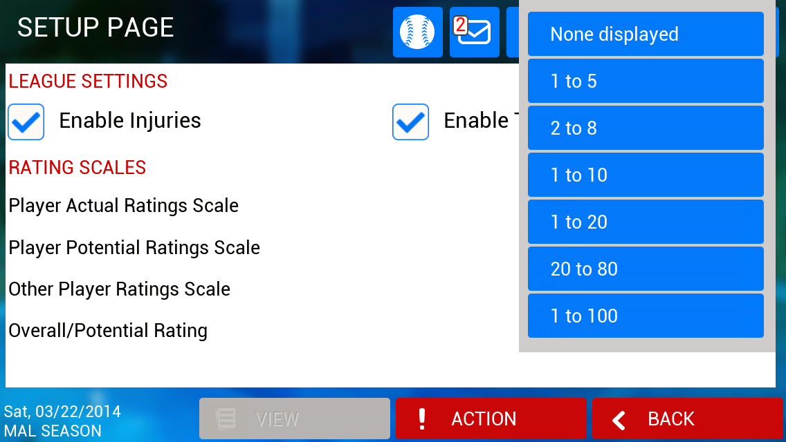 iOOTP 2014 Setup Page