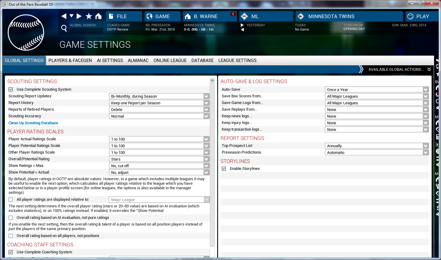 OOTP15 Game Settings 1