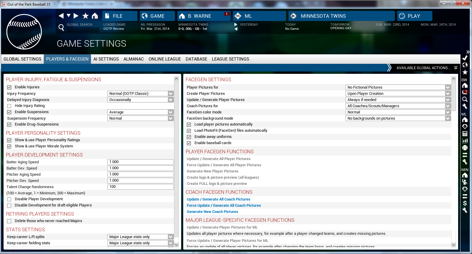 OOTP15 Game Settings 2