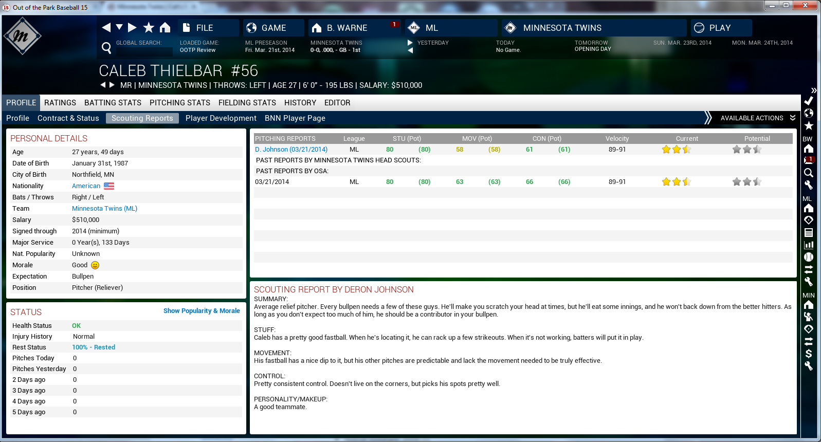 OOTP15 Player Details