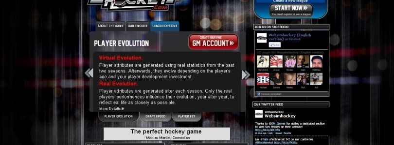 Updated Features for WebSimHockey