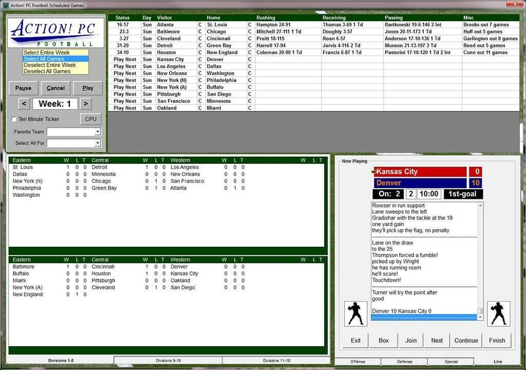 Action Pc Football 2017 Windows Pc Nfl Manager Simulator Gm Game