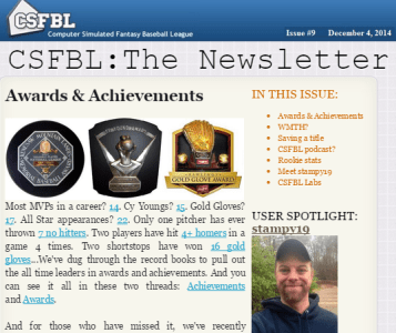 Computer Simulated Fantasy Baseball League (CSFBL)
