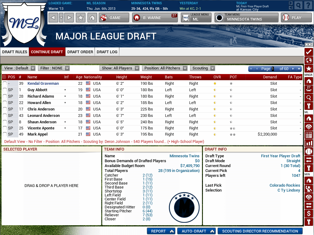 OOTP14 Baseball - Draft Day