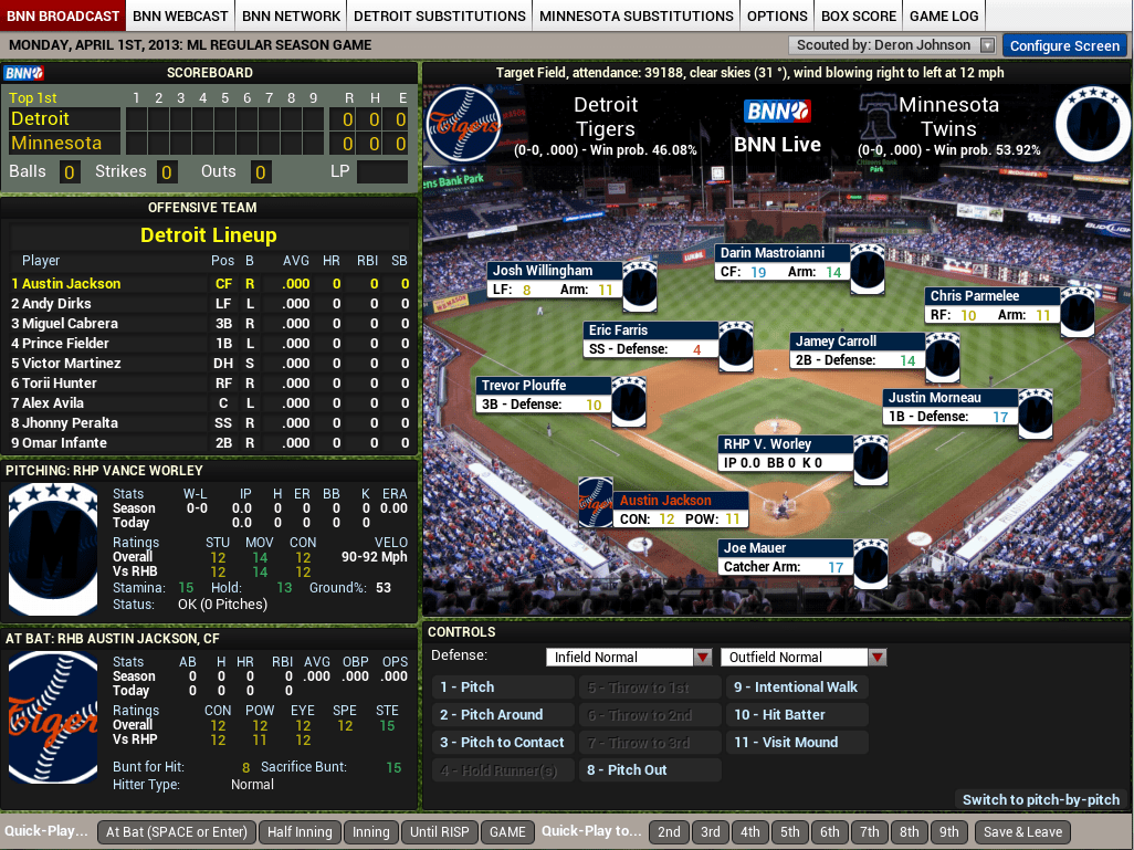 OOTP14 Baseball - In Game