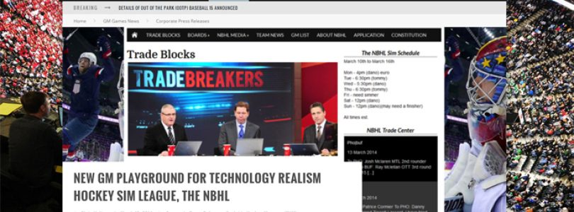 New GM playground for technology realism hockey sim league, the NBHL